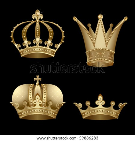 Set of four gold crown with diamond - stock vector