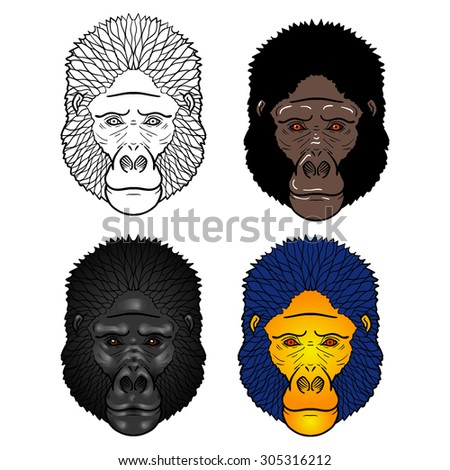 Set of four Gorilla head with gradients. isolation on a white background - stock vector
