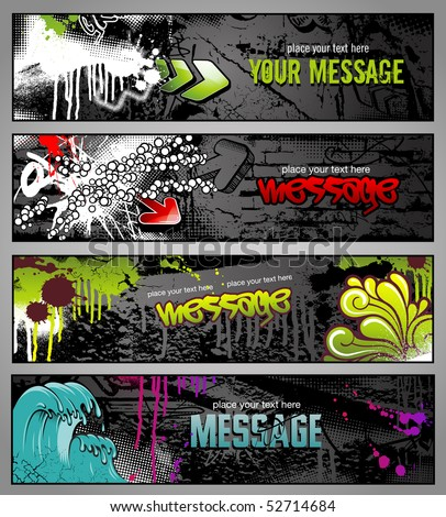 set of four graffiti style grungy urban banners
