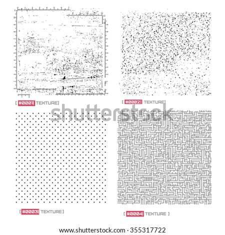 Set of four grunge, abstract, lines, dots texture . vector illustration,  - stock vector