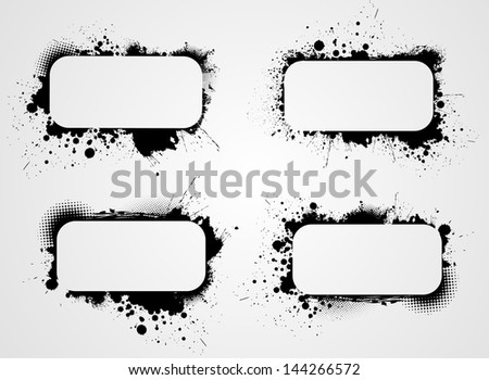 Set of four grunge rounded rectangle frame backgrounds - stock vector