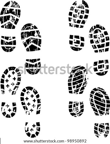 Set of four grunge shoes silhouette - stock vector