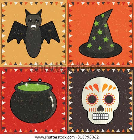 set of four halloween card decorations with bat, witches hat, cauldron and skull - stock vector