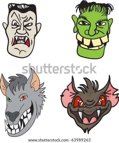 Set of four Halloween monsters - stock vector