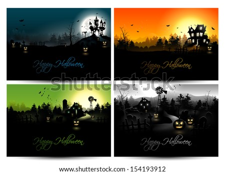 Set of four Halloween posters - stock vector