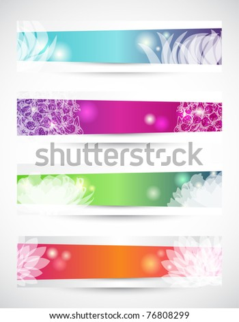 Set of four header with white flowers shapes - stock vector