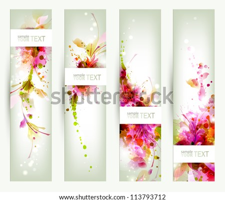 Set of four headers. Abstract artistic Backgrounds