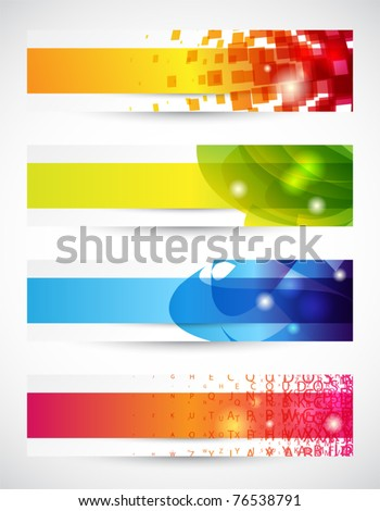 Set of four headers or banners with copy space