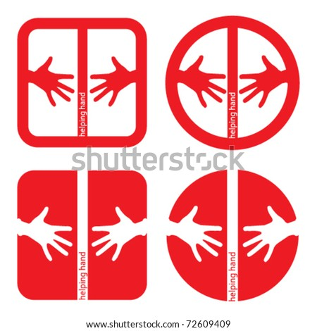 set of four helping hands red icons - stock vector
