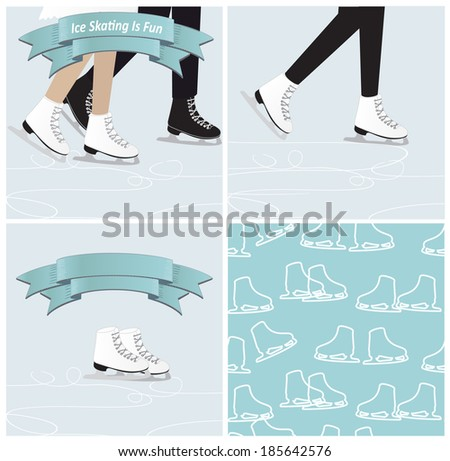 Set of four ice skating illustrations in cool blue winter shades with the legs of a couple figure skating, a single woman skater, a pair of ice skates with a banner and a seamless background pattern - stock vector