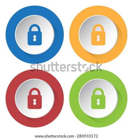 set of four icons - with closed padlock - stock vector