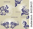 SET OF FOUR INVITATION CARD WITH FLORAL ELEMENTS - stock vector