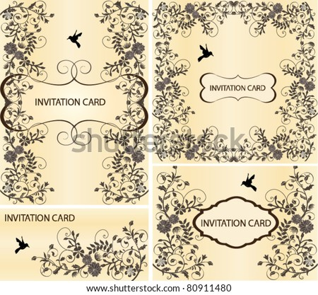 SET OF FOUR INVITATION CARD WITH FLORAL ELEMENTS