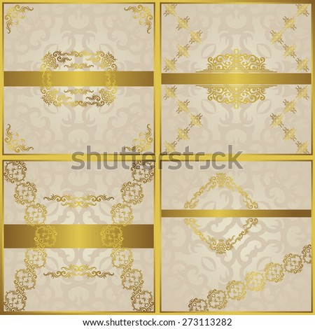 Set of four invitations. Vintage frames and decorative borders in a gold. Place for text. Original design    - stock vector