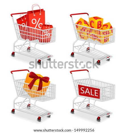 Set of four isolated modern photorealistic  shopping  carts icons on white background. Vector illustration. - stock vector