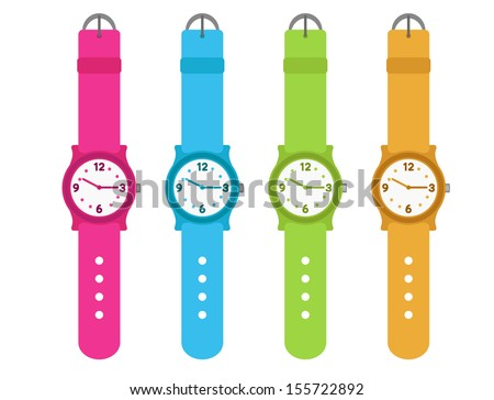 set of four kids watches - stock vector