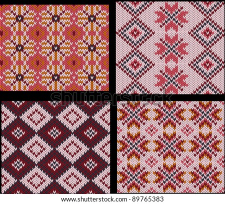 Set of four knitted swatches with fair isle pattern in red and pink - stock vector