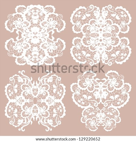 Set of four lace decorative ornaments - stock vector