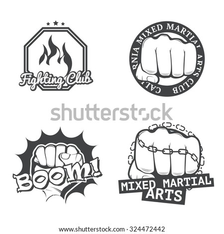 Set of four MMA labels, logos, badges, icons, signs and design templates. Fight club logotypes. Vector. - stock vector