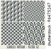 Set of four monochrome geometrical patterns - seamless vector - stock photo