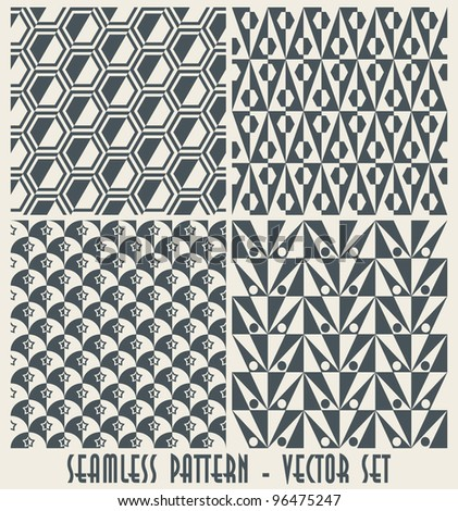 Set of four monochrome geometrical patterns - seamless vector - stock vector