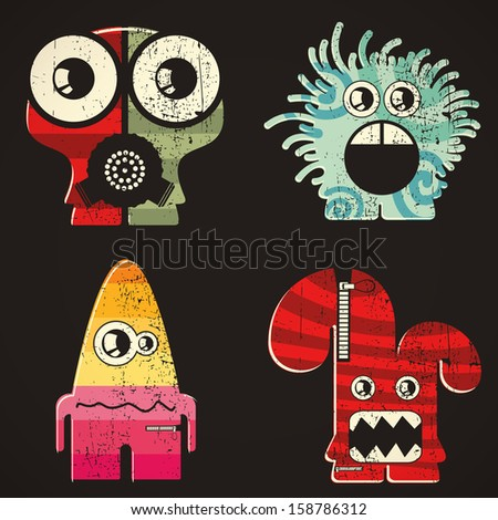 Set of four monsters at retro grunge background