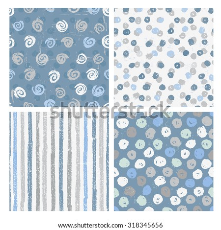 Set of four naive styled seamless patterns in blue. All objects are conveniently grouped and are easily editable. - stock vector