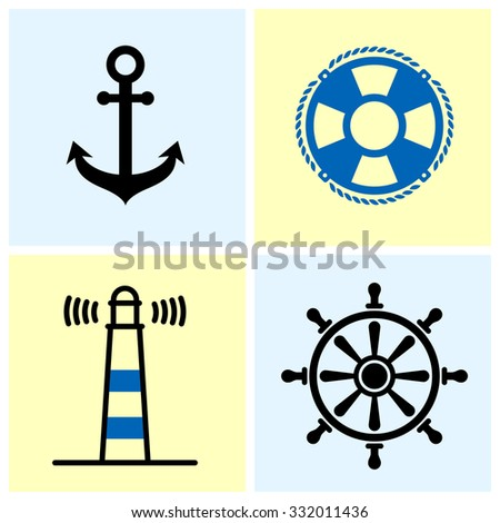Set of four nautical symbols on light color background.