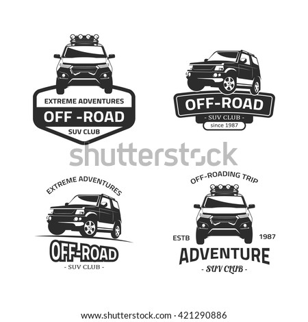 Set of four off-road suv car black logos. Suv car isolated on white background. SUV front and side view vector black icon with off-road, suv club, off-roading trip, extreme adventure text. - stock vector