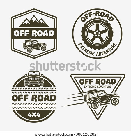 Set of four off-road suv car monochrome labels, emblems, badges or logos isolated on gray background. Off-roading trip emblems, 4x4 extreme club emblems - stock vector