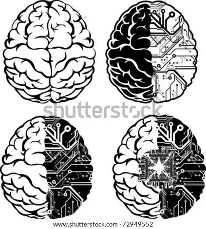 Set Of Four One Color Electronic Brain. - stock vector