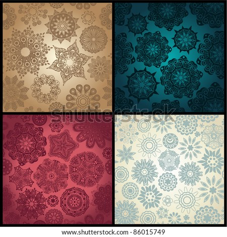 Set of four ornated floral seamless texture, endless pattern with flowers looks like retro snowflakes or snowfall. Can be used for wallpaper, pattern fills, web page background, surface textures eps10 - stock vector