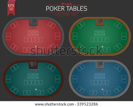 Set of four poker tables in different colors for poker client game design and user interface in flat design vector illustration  - stock vector
