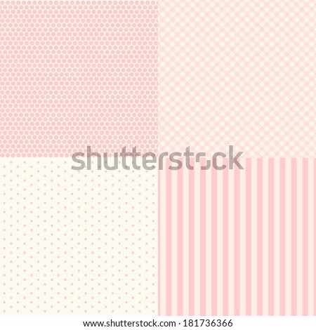 Set of four popular primitive retro backgrounds in shabby chic style - stock vector