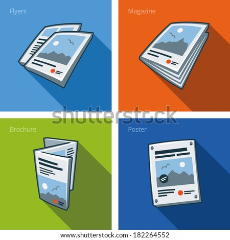 Set of four printouts icons consisting of flyer, magazine, brochure and poster in cartoon style. Print publishing icon series.  - stock vector