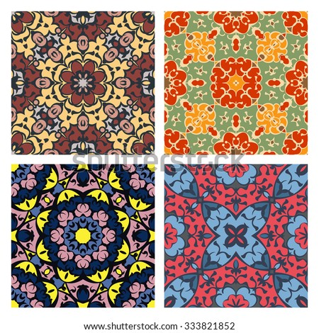 Set of four quadrate seamless oriental backgrounds - stock vector
