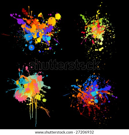 set of four rainbow-colored ink splats - stock vector