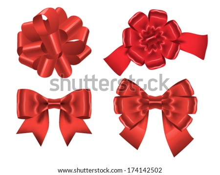 Set of four red ribbon bows isolated on white. Vector illustration - stock vector