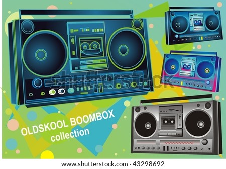 set of four retro boombox /audiotape players from the 80's,vector illustration - stock vector