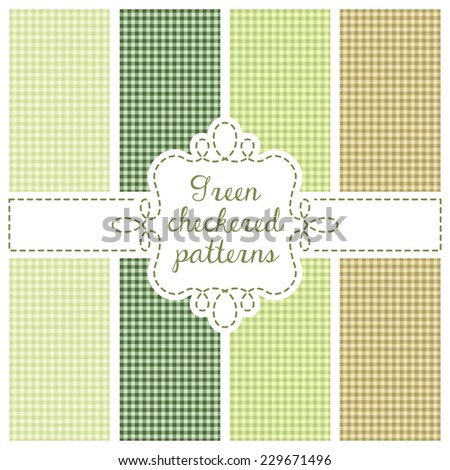 Set of four samples checkered cloth for a picnic. Seamless texture. Tablecloth, fabric, material, textile in green colors - stock vector