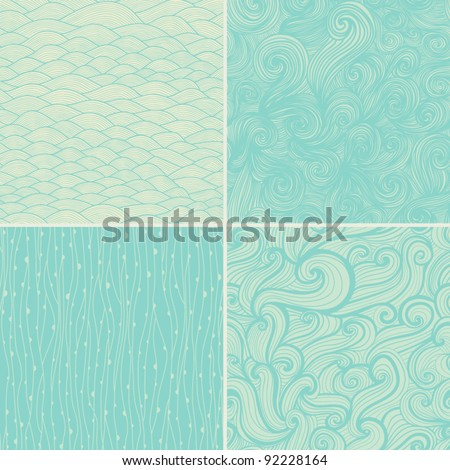 Set of four seamless abstract hand-drawn pattern, waves background. Seamless pattern can be used for wallpaper, pattern fills, web page background,surface textures. Gorgeous seamless floral background - stock vector