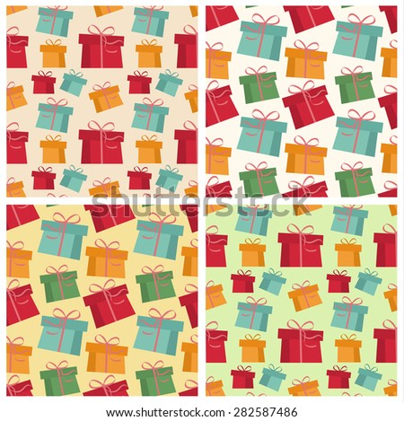 Set of four seamless pattern of colored gifts - stock vector
