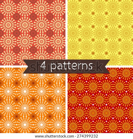 Set of Four Seamless Pattern. Seamless pattern can be used for wallpaper, pattern fills, web page background, surface textures. - stock vector