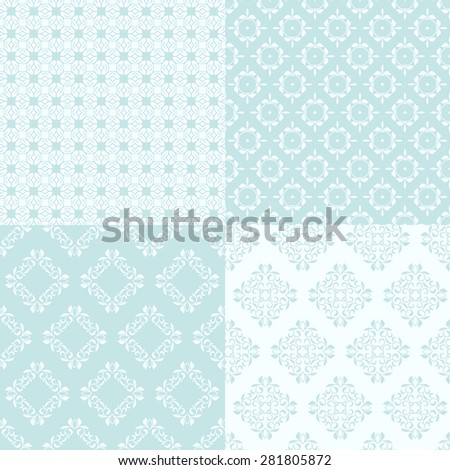 Set of four seamless patterns. Decorative background for cards, invitations, packaging, textiles, wallpapers. - stock vector