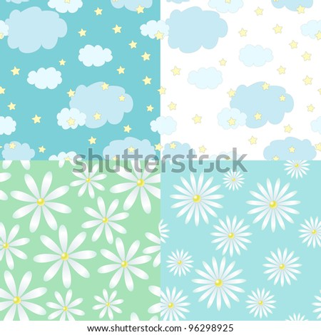 set of four seamless patterns with cute clouds and stars on blue and white background and chamomiles - stock vector