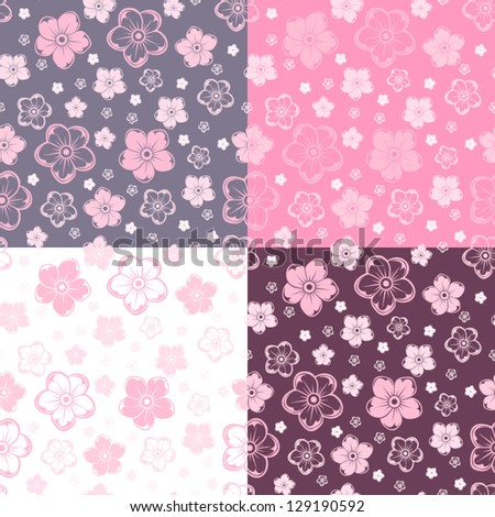 Set of four seamless patterns with flowers. Vector illustration.