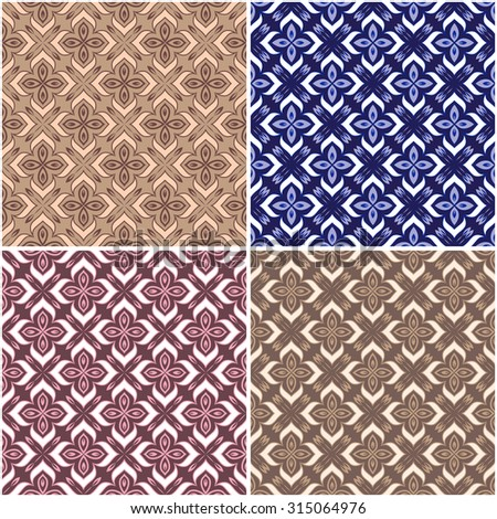 Set of four seamless texture. Vintage decorative vector seamless texture in Victorian style. Element for design. Ornamental backdrop. Ornate floral decor for wallpaper. Traditional colorful decor.   - stock vector