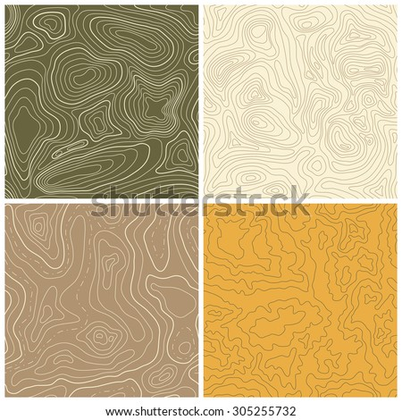 Set of four seamless topographic map patterns. Vector illustration - stock vector