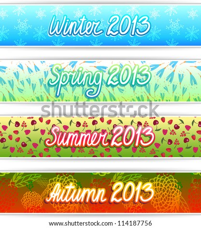 Set of four season text box for banner, header or promotions - stock vector