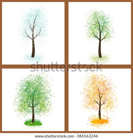 Set of four seasons trees on white background. Winter, spring, summer and autumn tree. Vector.  The icon of a stylized tree with yellow autumn leaves Vector.